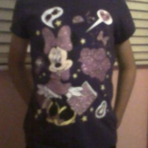 Purple Minnie Mouse Top With Dark Blue Capries